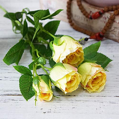 Hzdmfgs Künstliche Blumen 4 Köpfe Seide Rose Künstliche Blumen Lange Stange Hochzeit Dekoration Gefälschte Blumen Kunststoff Zweige mit Blättern Home Hotel Dekor (Color : Yellow)