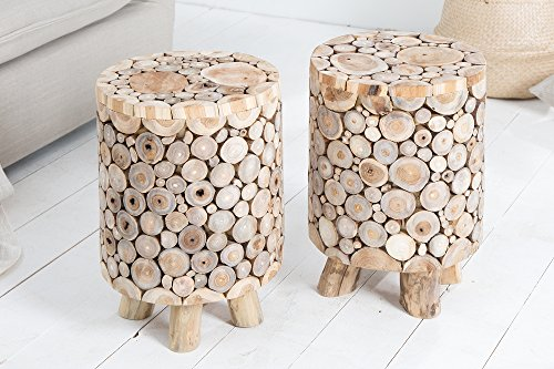 DuNord Design DuNord Design Hocker Massiv Teak Holz 45cm Holz Sitzhocker Beistelltisch Pflanzentisch
