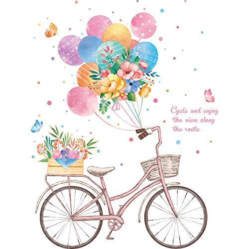 U/N Globo Multicolor Bicicleta Flores Pegatinas de Pared para Habitaciones de niños niñas decoración de Pared calcomanías de Vinilo para Pared Door95 * 72cm