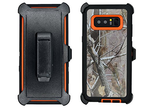 AlphaCell Cover Compatible with Samsung Galaxy Note 8 | Holster Case Series | Military Grade Protection with Carrying Belt Clip | Protective Drop-Proof Shock-Proof | Orange/Camouflage