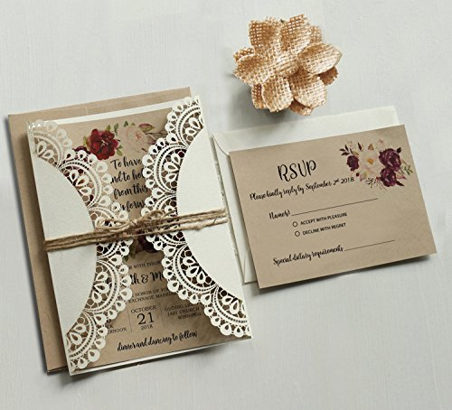 Off White Lace Wedding Invitations Set RSVP Cards Included Rustic Kraft Paper Invitation Cards - Set of 50 pcs (Customized Invitations + RSVP)