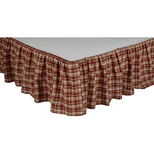 VHC VHC Brands Beckham Plaid King Bed Skirt 78x80x16 Country Rustic Bedding Accessory, Rust Red and Tan