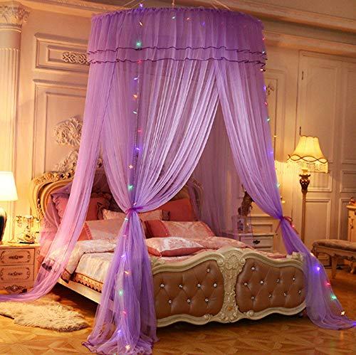 Hängende Prinzessin Vorhang Bettdecke, Haushaltskuppeln Moskitonetz, verlängertes Doppelschichtgarn, drei Türen, geeignet für Einzelbett bis Kingsize-Bett-Lila