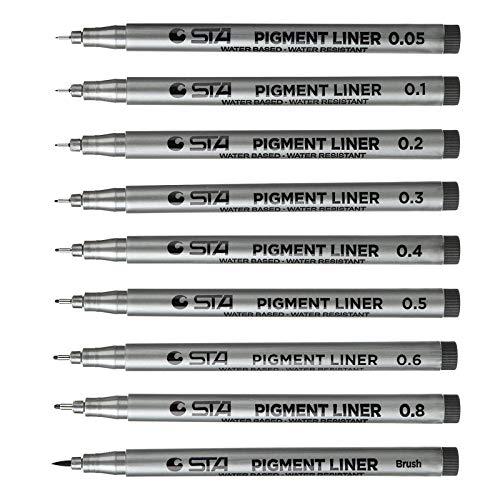 Willingood Fineliner Pigment Liner Set [9 Stück] mit 8 Linienbreiten und 1 Brush(schwarz Fineliner Stifte Artist Set Pigment Liner