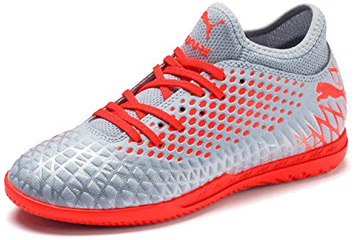 Puma FUTURE 4.4 IT Jr, Unisex-Kinder Fußballschuhe, Grau (Glacial Blue-Nrgy Red-High Risk Red 01), 35 EU (2.5 UK)