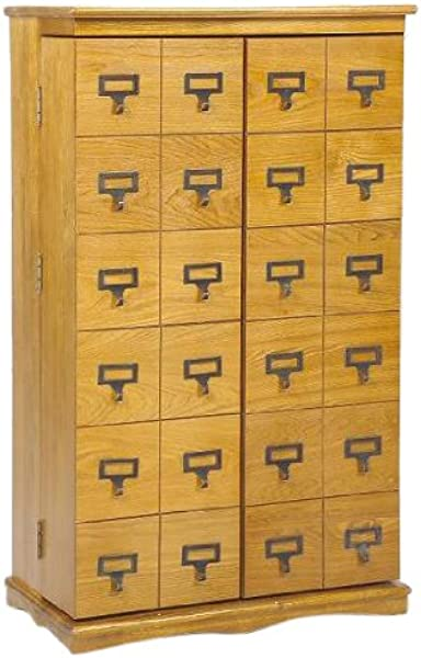 Leslie Dame CD 612L Solid Oak Mission Style Multimedia Storage Cabinet With Library Card Catalog Style Doors Oak