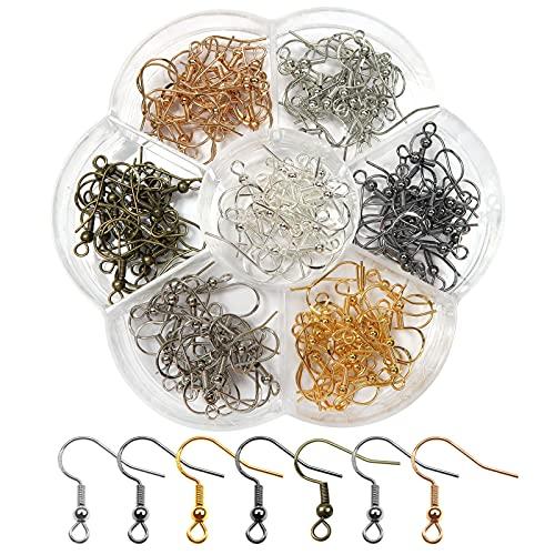 TOAOB 140 Piezas 18 mm Ganchos para Pendientes Enchapado Plata Multicolor Pendientes de Anzuelo de Pescado Utilizado para Accesorios de Bricolaje Hacer Joyería