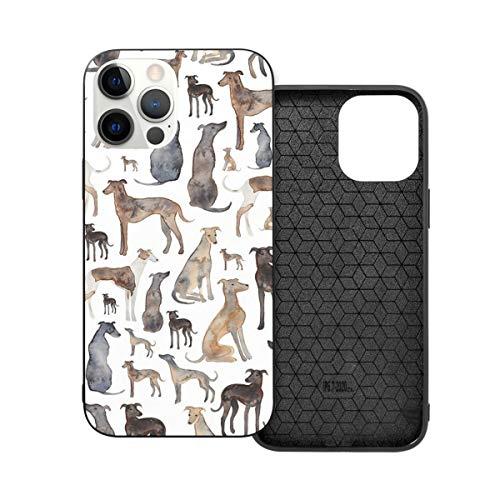 Funda protectora compatible con iPhone 12 / iPhone 12 Pro Galgos, Wippets y Lurcher Dogs! Funda de silicona suave TPU