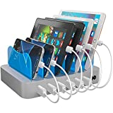 Hercules Tuff Charging Station for Multiple Devices, with 6 USB Fast Ports, 6 Short Mixed USB Cables Included for Cell Phones, Smart Phones, Tablets, and Other Electronics, Silver