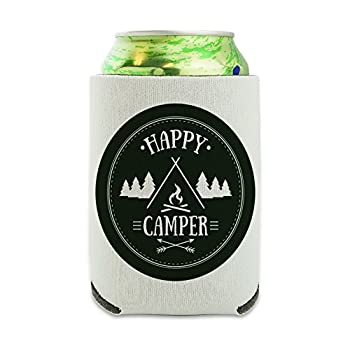 Happy Camper with Campfire Can Cooler - Drink Sleeve Hugger Collapsible Insulator - Beverage Insulated Holder