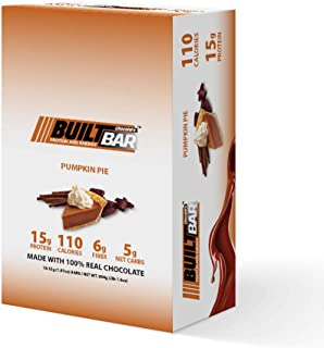 Built Bar 18 Pack Energy and Protein Bars - 100% Real Chocolate - High in Whey Protein and Fiber - Gluten Free, Natural Flavoring, No Preservatives (Pumpkin Pie)