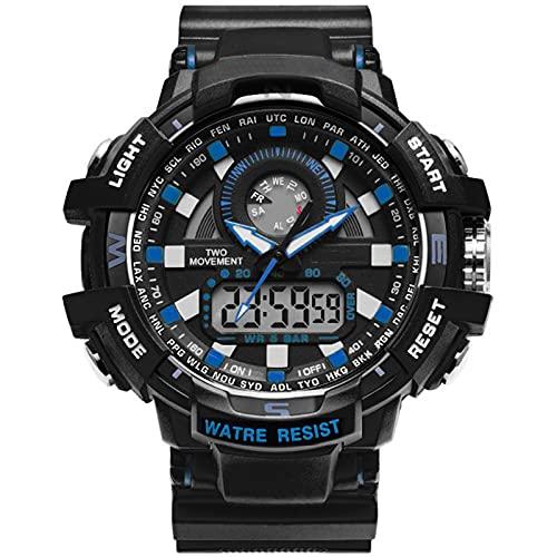 WNGJ Reloj Deportivo Moda Moda Estudiante Moda Simple Reloj Electrónico Luminoso Pantalla Dual Sub-Dial, Reloj de Estudiante, Impermeable Profundo, Modelo Negro con estil Blue