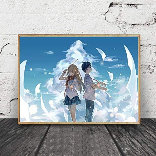 wZUN Cuadro de Arte de Pared de Lienzo, decoración del hogar, animación de April Lies, póster nórdico, Imagen Impresa para Sala de Estar 60x80 Sin Marco