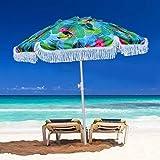 XKRSBS S71019-DL-200 Protección UV50, Ligero, portátil y fácil, Camping, Deportes, Jardines de 6.5 pies Refugio al Aire Libre Patio Sombrilla de Playa de Arena con Sun Ancla Fringe