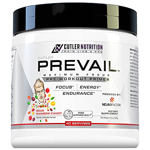 Prevail Pre Workout Powder with Nootropics: Pre Workout for Men and Women, Cutting Edge Energy and Focus Supplement with L Citrulline, Alpha GPC, L Tyrosine | Sour Rainbow Candy, 40 Scoops