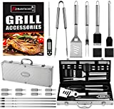 Romanticist 21Pc Set Barbecue in Acciaio Inox Utensili Barbecue - Accessori Barbecue in Acciaio Inossidabile - Kit Barbecue Idee Regalo per Uomo Donne