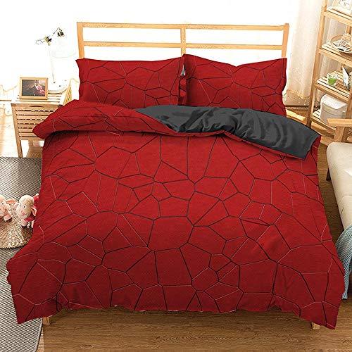 HGFHGD Bettwäsche-Set für Kinder und Erwachsene, geometrisches Design, 3-teilig, Rot