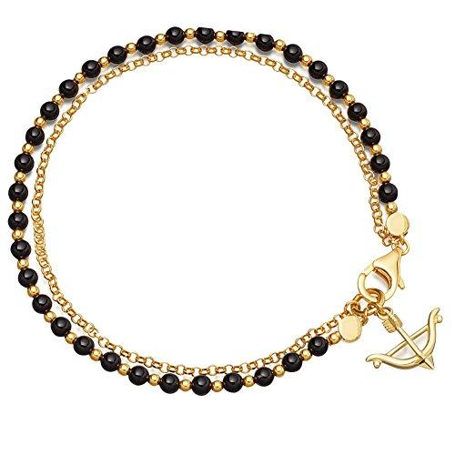 Danigrefinb Boho Retro Multi-Layer-Bogen Pfeil Anhänger Perlen Kette Frauen Schmuck Armband Geschenk - Weiß