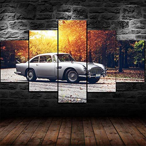 45Tdfc Cuadro En Lienzo 5 Piezas Pintura Coche Retro de Plata Martin DB- Puesta de Sol Moderno Fotos Material Te Jido No Tejido Arte Pared DecoracióN HogareñA ImpresióN