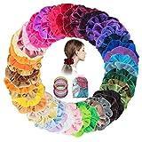 60 Piezas Gomas de Pelo Scrunchies Terciopelo Coleteros de Tela Scrunchies Pastel Velvet Elástico Hair Scrunchies-Accesorios para el cabello para mujeres niñas con bolsa de almacenamiento