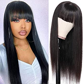 TUNEFUL Human Hair Wigs with Bangs for Black Women None Lace Front Wig 16 Inch Bang Wig Human Hair Brazilian Virgin Straight Wigs Glueless Machine Made Wigs Natural Color