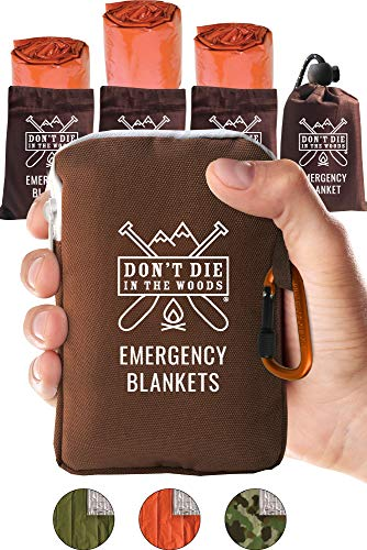 Don't Die In The Woods World's Toughest Emergency Blankets | 4 Pack Extra Large Thermal Mylar Foil Space Blanket for Hiking, Marathon Running, First Aid Kits, Outdoor Survival Gear | Orange