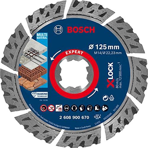 Bosch Professional 1x Expert MultiMaterial X-LOCK Diamanttrennscheiben (für Beton, Ø 125 mm, Zubehör Kleiner Winkelschleifer)