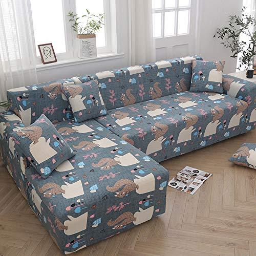 DKLE Fundas de Sofá Elásticas Forma de L 2 plazas, 2 Piezas Couch Cover Seccionales Jacquard, Cubre Sofas Tela para Muebles, Protector Antideslizante para Muebles