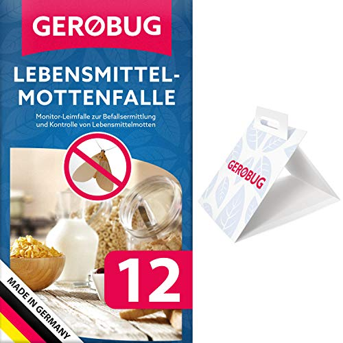 Gerobug Lebensmittel-Mottenfalle = 12 Stück + E-Book zur endgültigen Mottenbekämpfung + Support vom Experten