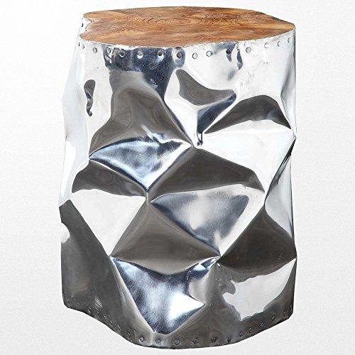 Atypik Home Tabouret en Teck et Aluminium argenté Brillant de 35 x 45 cm