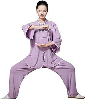 ZooBoo Women`s Chinese Traditional Tai Chi Uniform Short Sleeves Morning Exercises Kung Fu Clothing