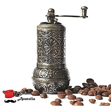 Bazaar Anatolia Turkish Grinder, Spice Grinder, Salt Grinder, Pepper Mill (Dark Silver, 4.2 )