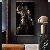 ganlanshu Pintura sin Marco Arte Abstracto de Lienzo Dorado y Negro en la Sala de Estar Habitación Moderna y nórdica para niños de lujoCGQ7449 40X80cm