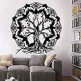 Flor de loto Tatuajes de pared Decoración de aula Resumen Árbol de la vida Ramas Vinilo Adhesivos de pared Dormitorio Decoración Accesorios Adhesivos de pared 85x84cm