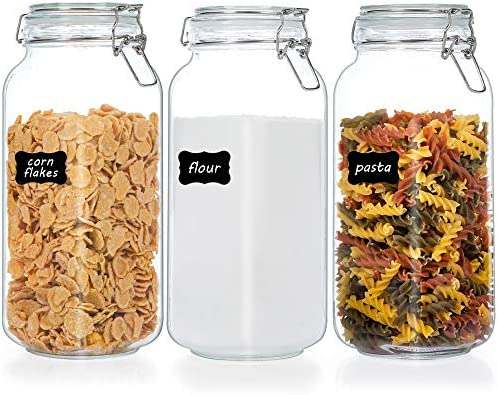 Vtopmart 78oz Glass Food Storage Jars with Airtight Clamp Lids 3 Pack Large Kitchen Canisters product image
