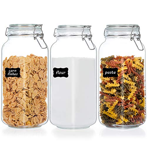 Vtopmart 78oz Glass Food Storage Jars with Airtight Clamp Lids, 3 Pack Large Kitchen Canisters for Flour, Cereal, Coffee, Pasta and Canning, Square Mason Jars with 8 Chalkboard Labels