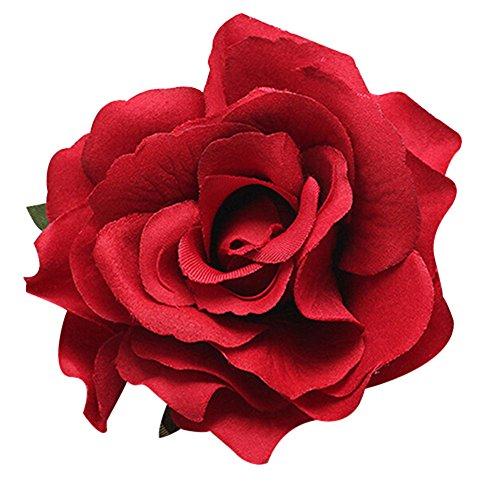 Sukisuki Sweety - Horquilla para el pelo con diseño de flores y rosas (tamaño grande), color rojo