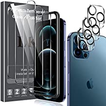 6 Pack LK 3 Pack Screen Protector + 3 Pack Camera Lens Protector Compatible with iPhone 12 Pro 6.1-inch, Tempered Glass, Easy Frame Installation, HD Ultra-Thin