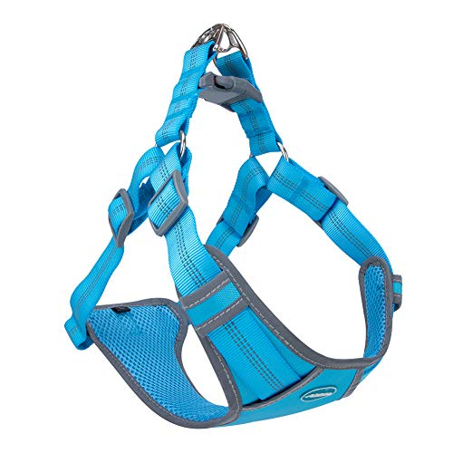 ThinkPet Escape-Proof Step in Dog Harness - No Pull Breathable Reflective Padded Comfortable Halter Adjustable Harness S(Chest 17-20in, Neck 15-19in) Light Blue
