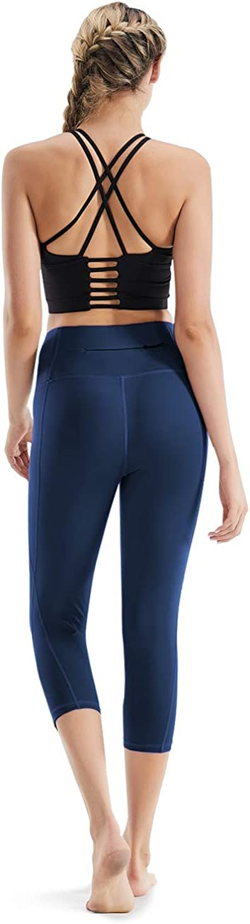 Rocorose Womens Yoga Pants High Waist Tummy Control with Inner Pockets Power Stretch Workout Capri Leggings
