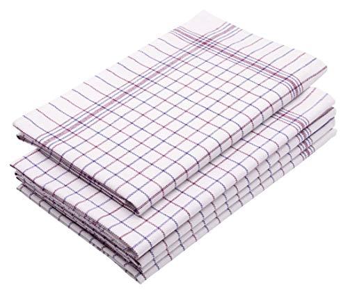 Zollner 5 paños de cocina grandes de algodón 100%, 65x70 cm, de cuadros
