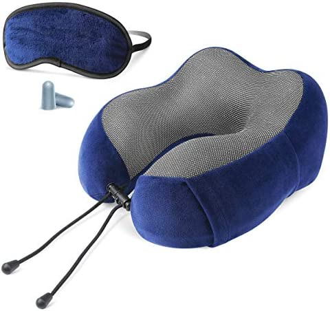 Cloudz Tech Memory Foam Travel Neck Pillow with Blackout Sleep Mask and Ear Plugs Blue product image