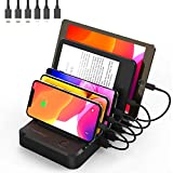 Charging Station for Multiple Devices 6 Short Mixed Charging Cables Multi USB Charger Station Organizer for Cell Phones Apple Samsung Tab Electronics Tech Gadget Gift -Black