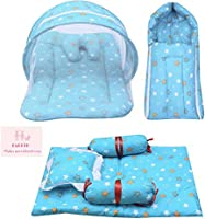 Infantbond Combo of Baby Mattress with Net   Sleeping Bag   4 Pcs Bedding Set(0-6 Months) (Star Green)
