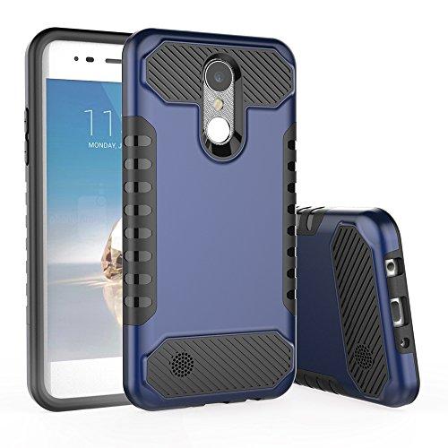 LG Aristo Case,LG K8 2017 Case,LG LV3 Case,Spevert Dual Layer Hybrid Hard Back Soft TPU Raised Edge Shock Absorption Scratch Proof Protective Case for LG LV3/Aristo/K8 2017 - Deep Blue/Black