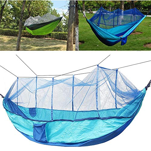 XuZeLii Hamaca De Camping Nylon colgados oscilan Cama con Mosquitera Doble paracaídas Hamaca de la Carga máxima de 300 kg Adecuado para Mochileros (Color : Blue, Size : 240x140CM)
