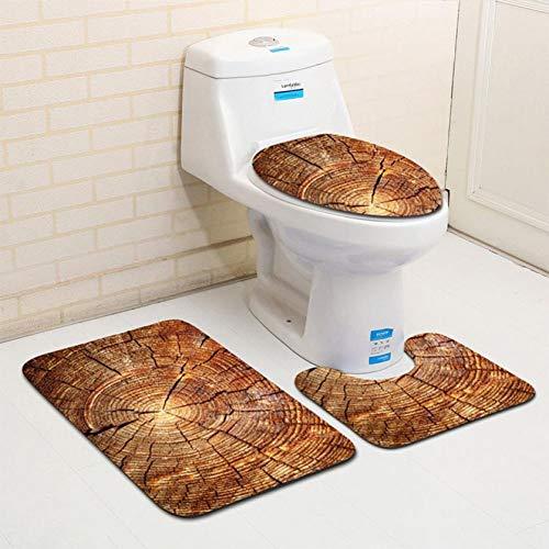 ZNBMTD Accessori per Il Bagno 3 Pezzi di Legno Creativo Modello Antiscivolo Toilet Seat Cover E Tappeto Bagno Set Decor