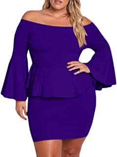 34a20bcbd7a Yskkt Womens Plus Size Peplum Dresses Off The Shoulder Short Sleeve Bell  Sleeve Ruched Bodycon Sexy