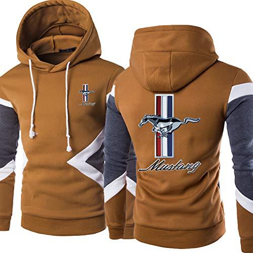 ukukuk Herren Hoodies Mustang 3D Drucken Sweatshirt Lässiges Pullover Mäntel mit Kapuze Langarm Kapuzenpullover Unisex Camel-X-Large