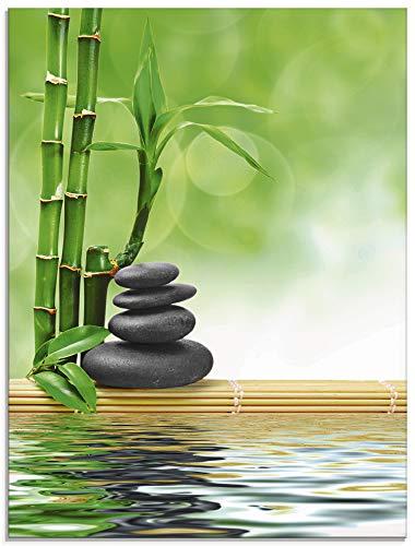 Artland Glasbilder Wandbild Glas Bild einteilig 60x80 cm Hochformat Asien Wellness Zen Spa Steine Bambus Entspannung Grün T5OP